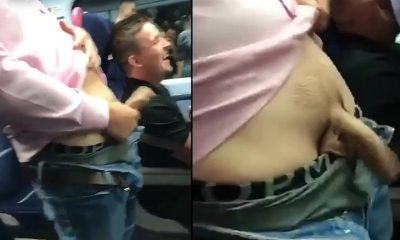 guy flashing and shaking his big cock on train in public