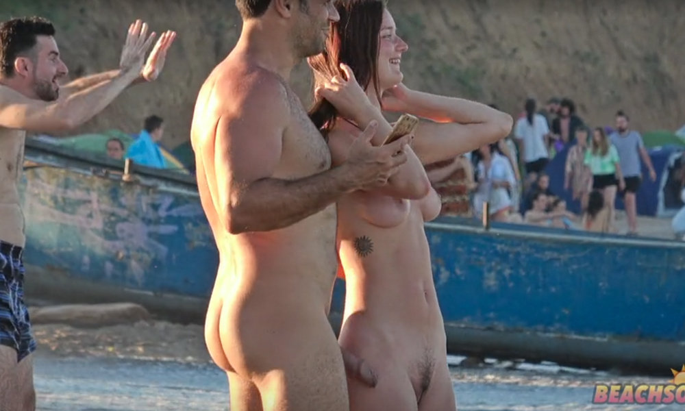 horny straight man getting hard cock at the nudist beach