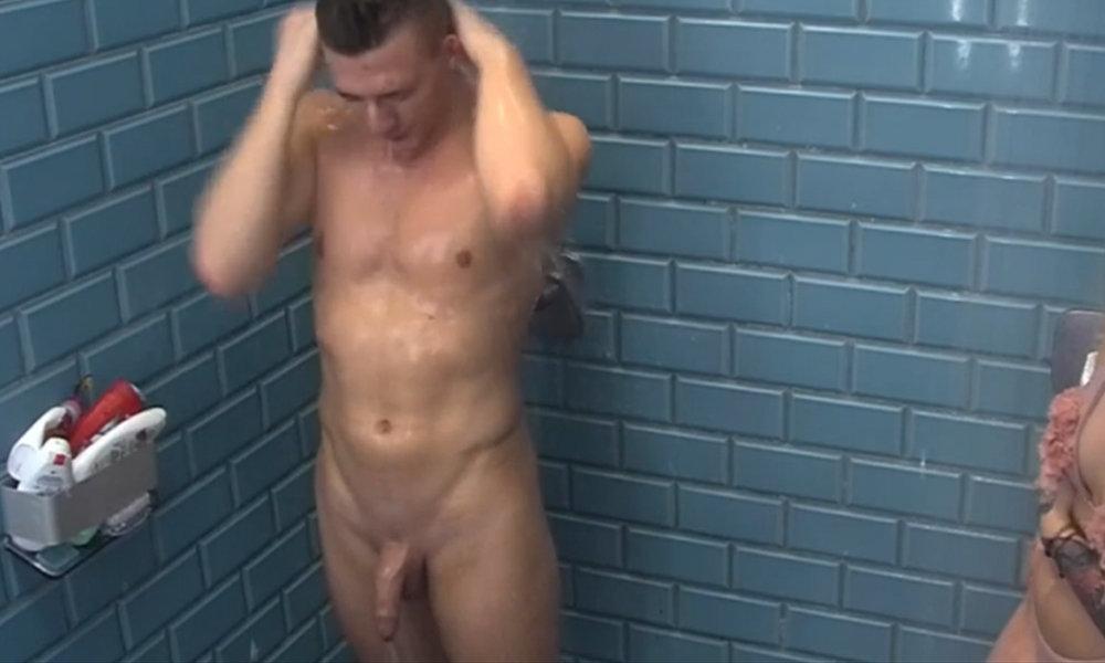 naked hung guy showering at big brother hungary