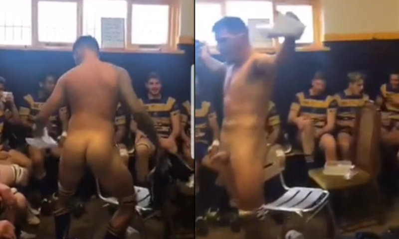 naked rugby players celebrating in locker room