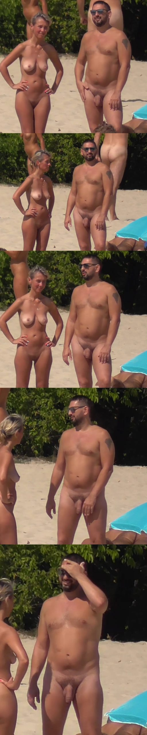 nudist man with huge cock caught at naturist beach by spycam