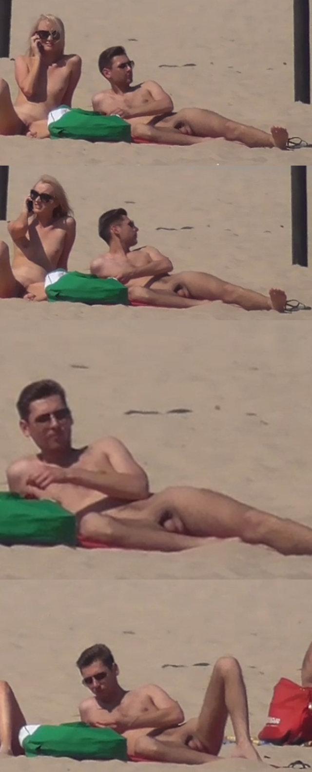 straight nudist guy sunbathing naked with girlfriend