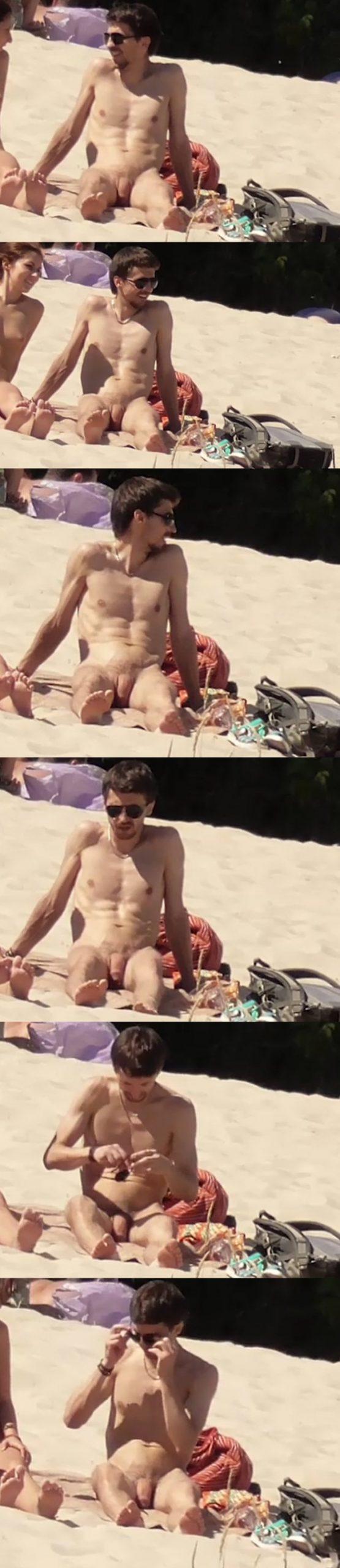 straight nudist guy with huge uncut cock