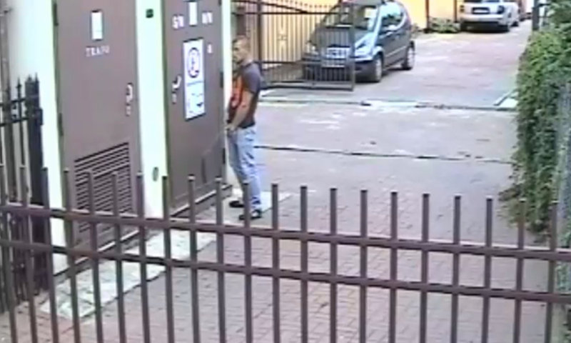 guy caught peeing in the street by surveillance camera
