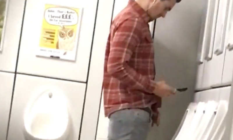 spy on handsome guy caught peeing at urinals