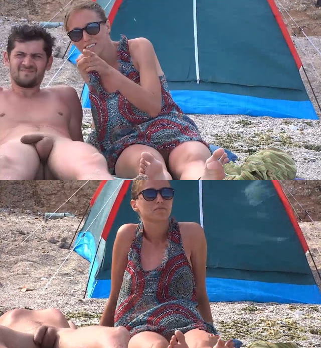 spy on straight nudist man sunbathing naked with his wife