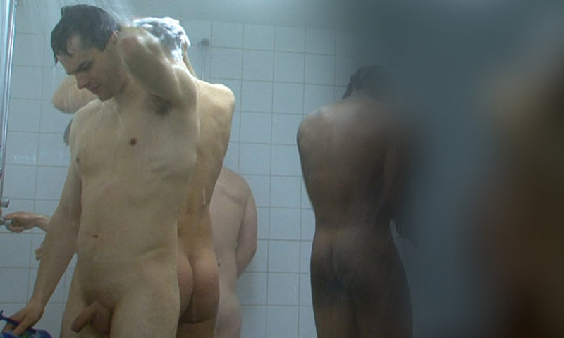 straight footballers captured by spycam while taking a shower