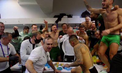 Footballers in underwear in locker room