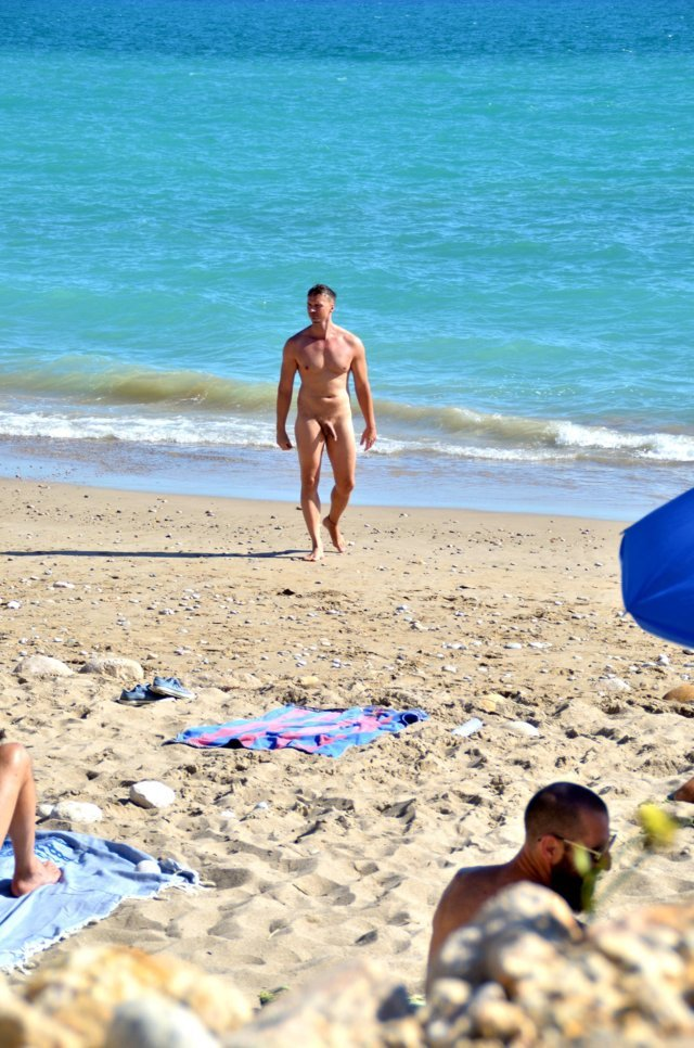 nudist guy with big dick caught at the nudist beach by hidden camera