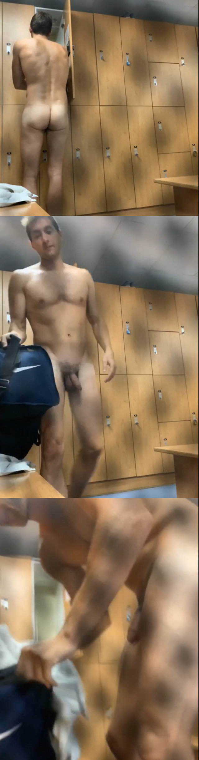 tall guy with thick uncut cock caught naked in lockerroom