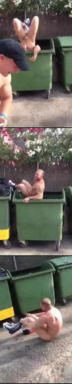 Drunk Rugby guy naked in bin