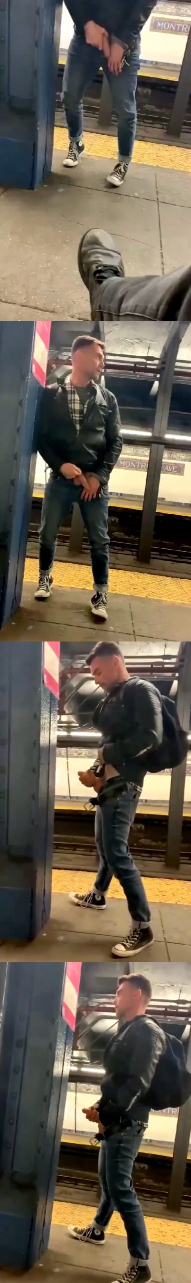 guy jerking off in public in the subway