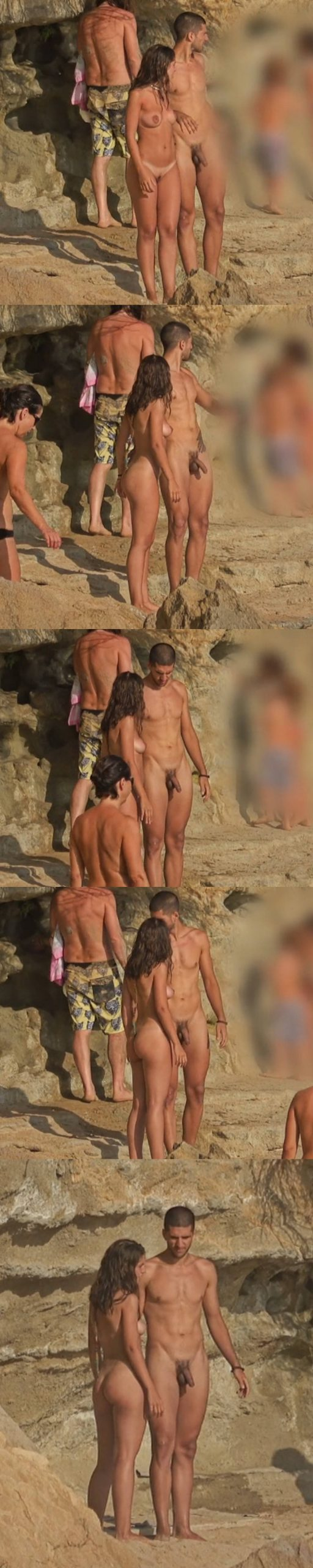 straight nudist guy caught with boner at the beach