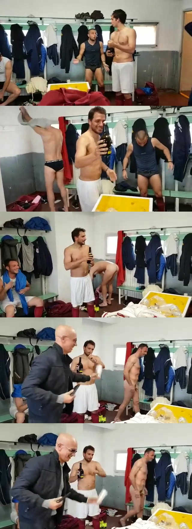 naked player in a dressingroom