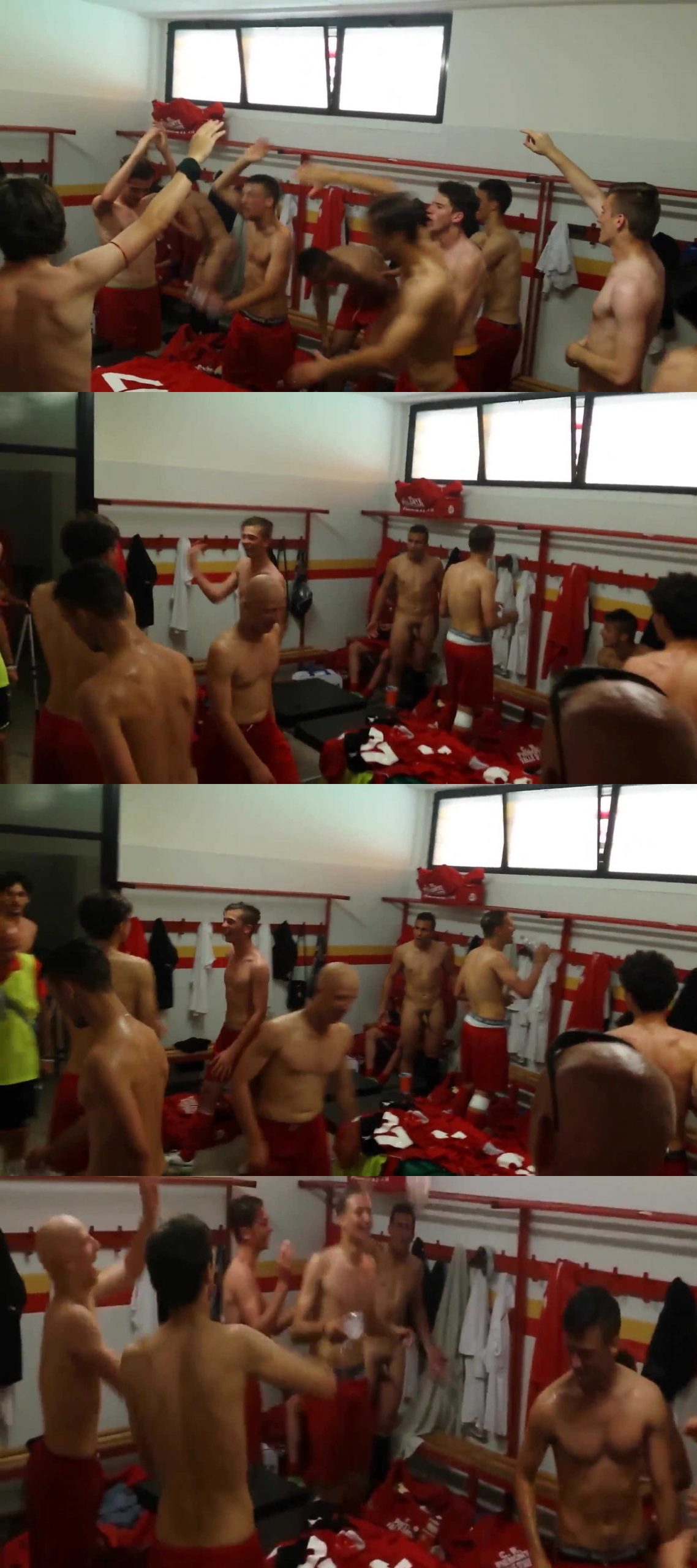 naked player in a locker room