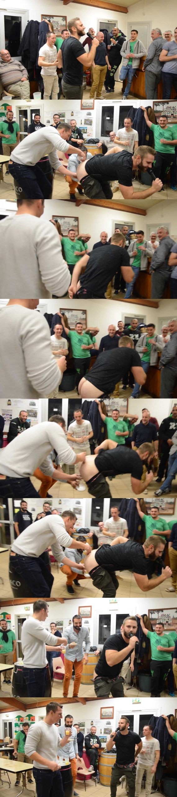 rugby guy drinks in naked teammate ass