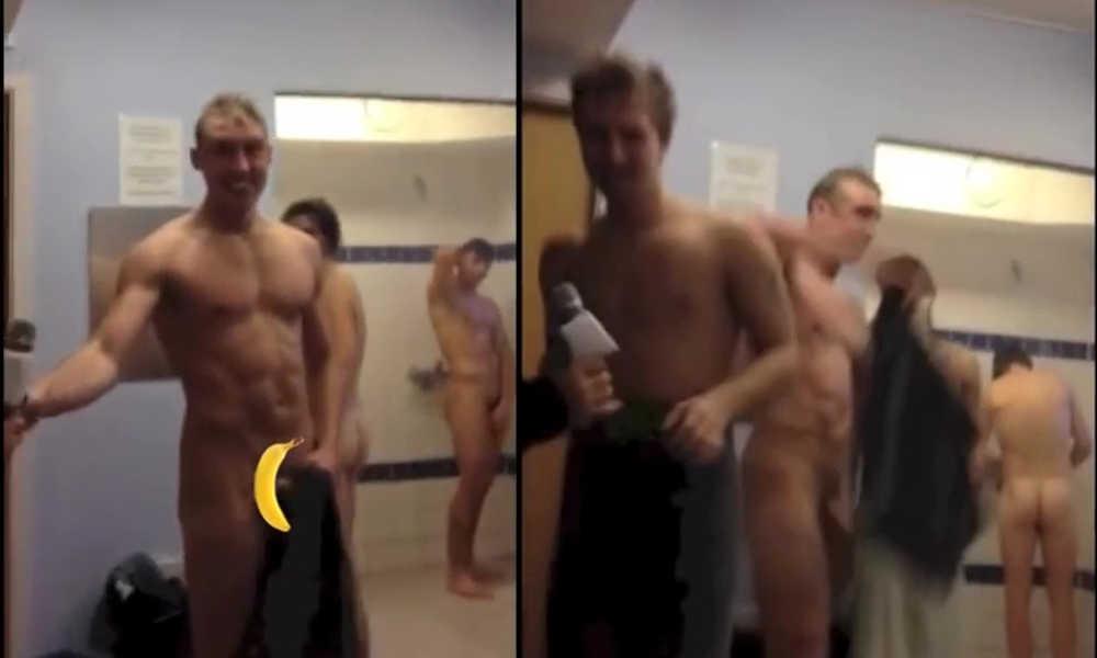 rugby guys making naked video in locker room