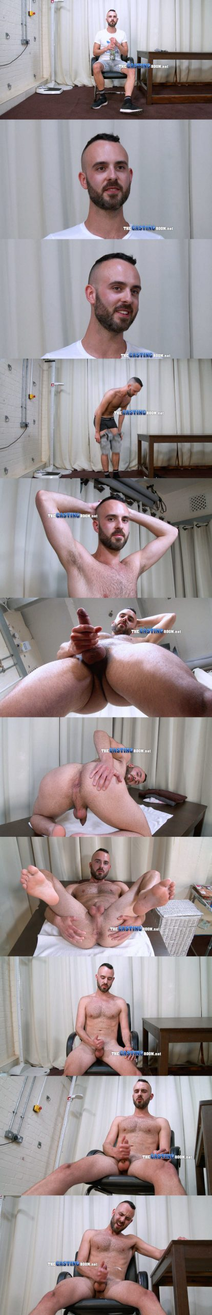 bearded guy jay stripping naked and wanking the casting room