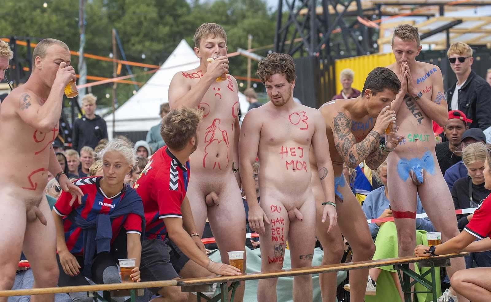 five guys naked in public