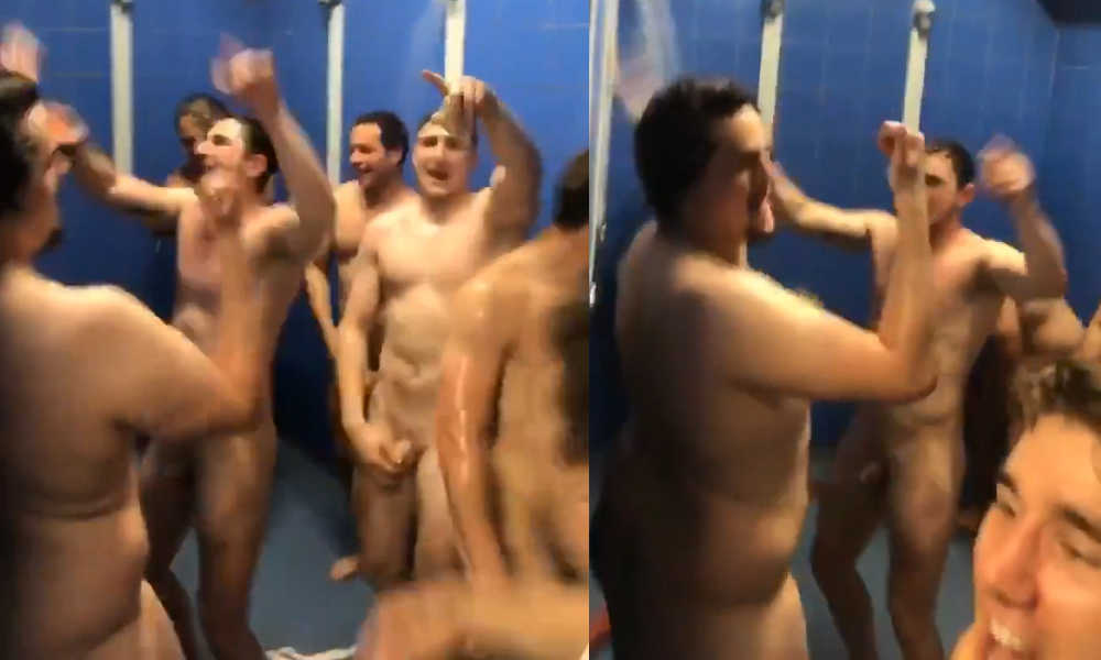 footballers naked in shower after game