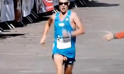 accidental dick exposure from a runner
