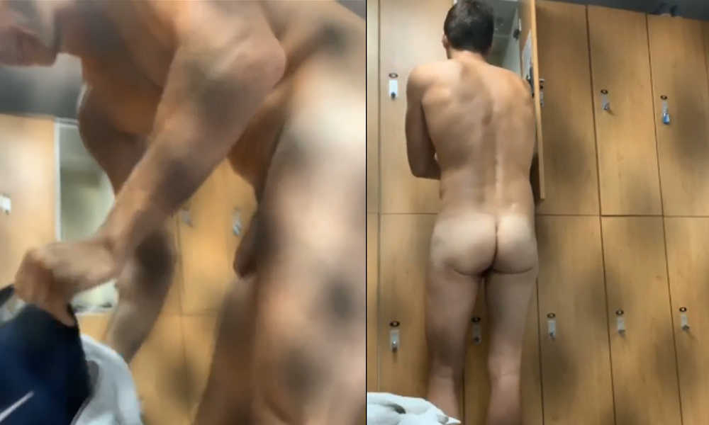 guy with thick uncut dick caught in locker room