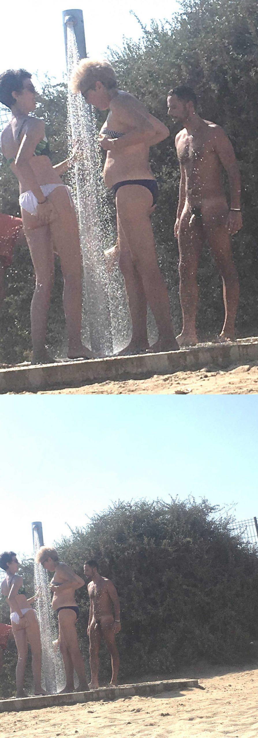 nudist man caught showering over nudist beach