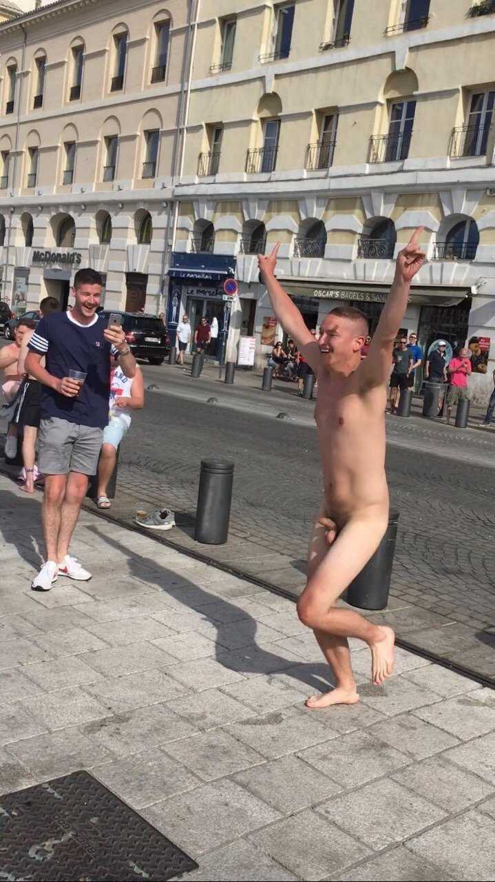 uncut guy totally naked in the street
