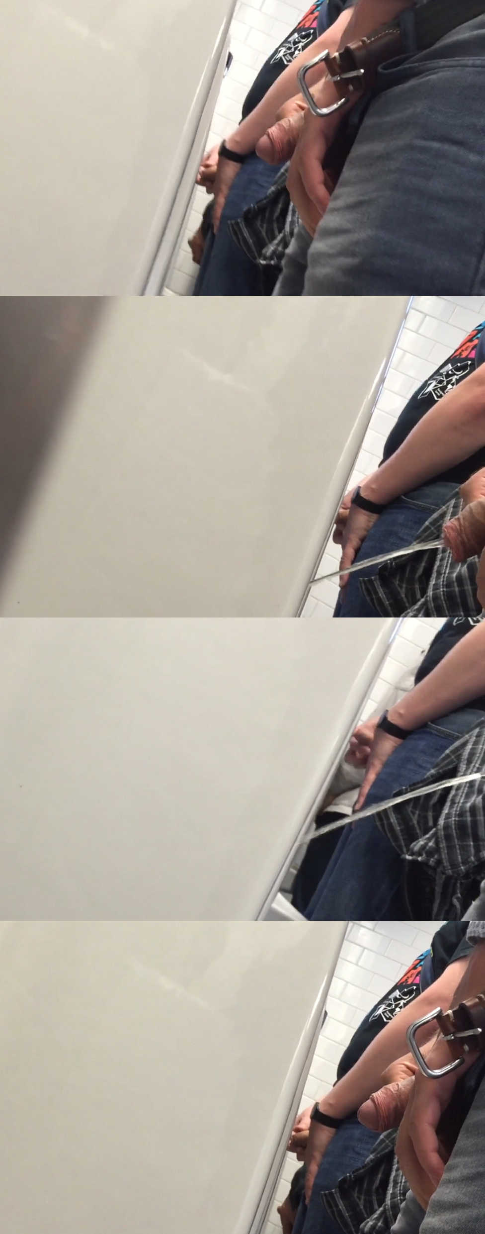 uncut men caught peeing at urinal by spycam