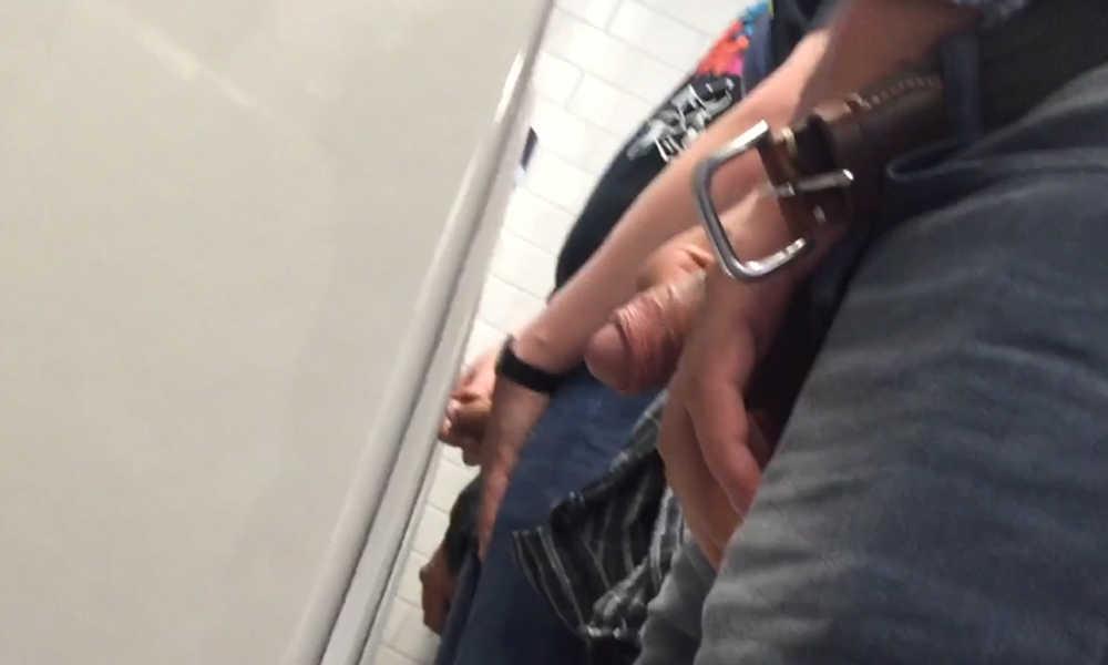 uncut men caught peeing at urinals