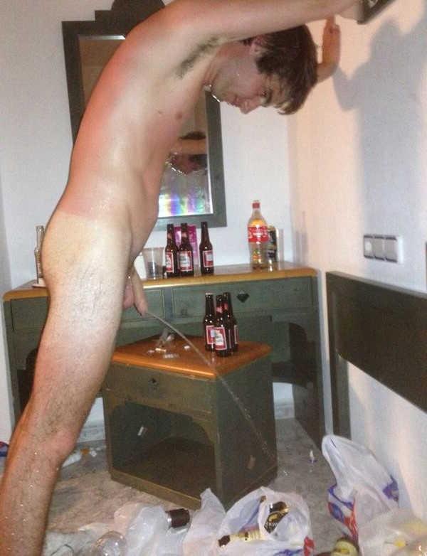 drunk guy peeing on the floor