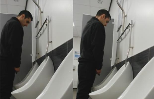 Into man peeing urinals