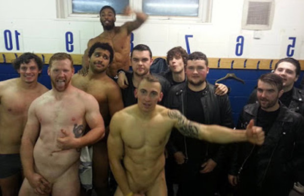 Football locker room nude
