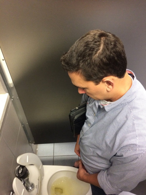 Man peeing in the toilet, cute girl big cock gang bang