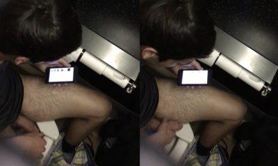 Boy at toilet jerking Caught