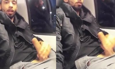 uncut guy wanking dick on train