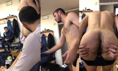 italian footballer showing off hairy ass hole