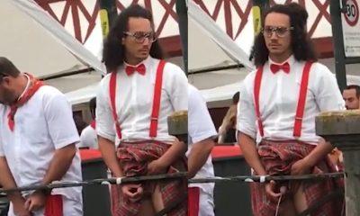 guy caught peeing in public