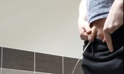 guy with hairy uncut cock caught peeing public toilet