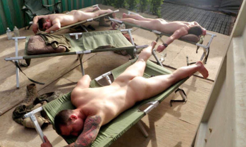 army guys sleeping naked together