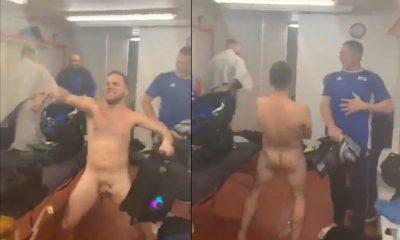 guy shaking cock in locker room