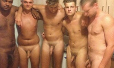 straight guys naked and showering together