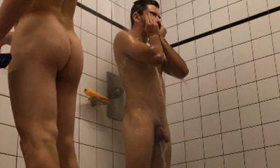 hot uncut guys caught in open shower
