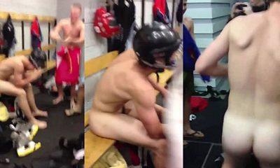 hockey players naked in locker room