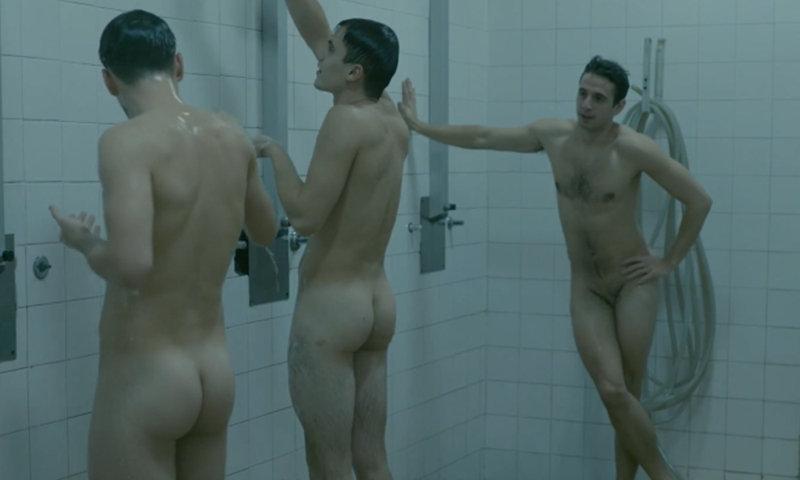 male actors naked in shower scene