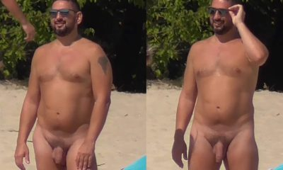 nudist man with big uncut cock caught at the beach