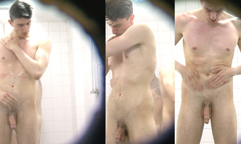 spy on hung guy caught naked by spycam in communal shower