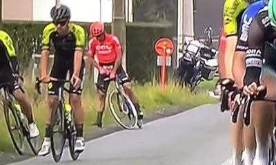 cyclists caught peeing during race