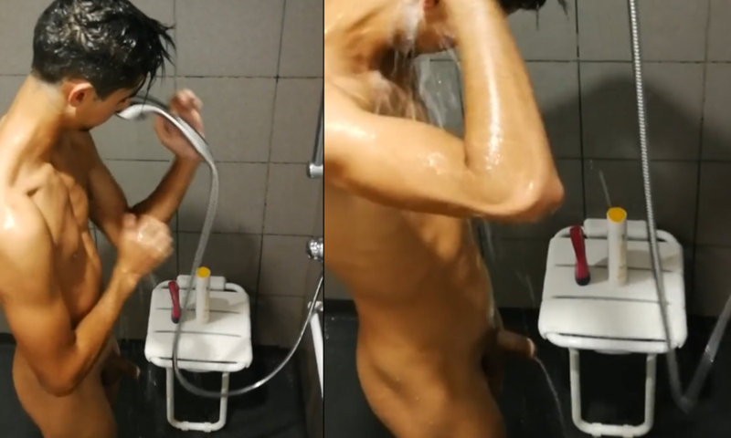 skinny guy caught by spycam in the shower