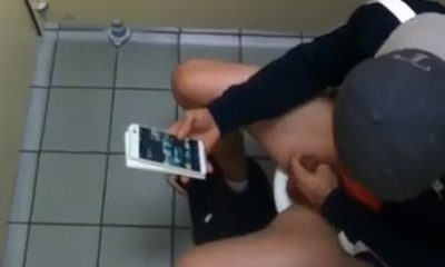 guy caught stroking his cock in a public toilet